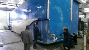 Screen Machine exterior being refurbished